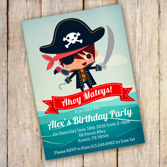 Pirate Party Birthday Invitation Template edit with Adobe – Pirate Party Invite