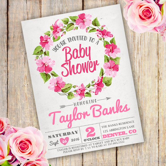Floral Wreath Baby Shower Girl Invitation TemplateParty Printables