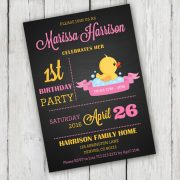 Chalkboard Rubber Duck Birthday Party Invitation - First Birthday Party - Instant Download + Editable File Personalize with Adobe Reader