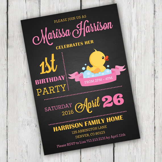 Chalkboard rubber duck birthday party invitation edit with adobe duck birthday party invitation template edit with adobe reader stopboris Image collections