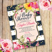 Watercolor Floral Baby Shower Invitation Template