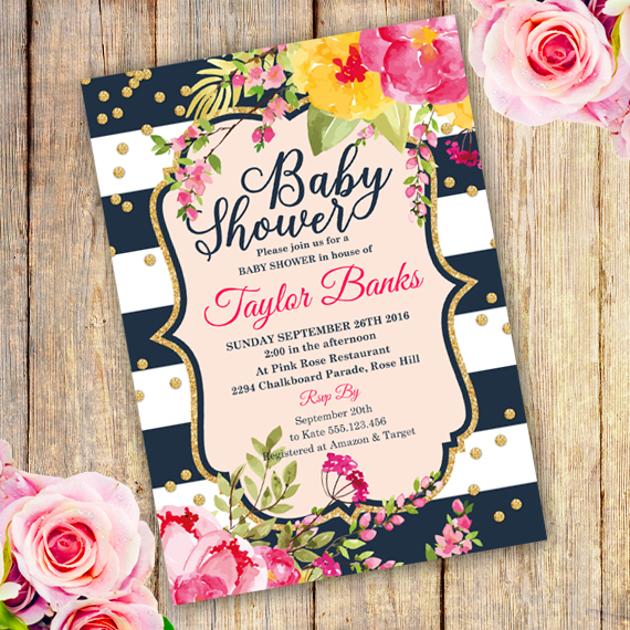 Watercolor Floral Baby Shower Invitation Template; Howtoeditmypdf  Baby Shower Invitation Template Download