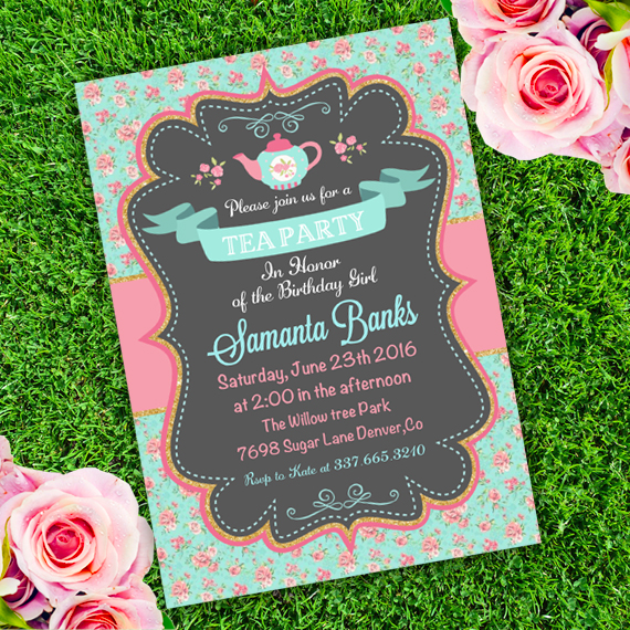 Tea Party Girl Birthday Invitation Template edit with Adobe