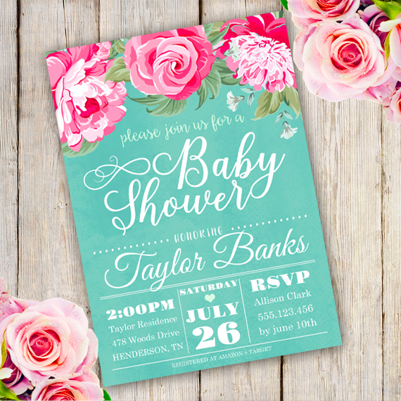 Watercolor Floral Baby Shower Invitation Template Edit with Adobe
