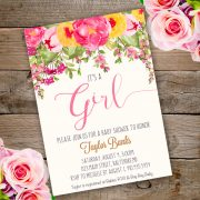 Baby shower invitation Girl template