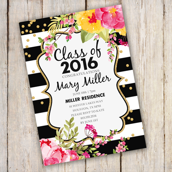 Graduation Invitation Black And Gold Template Edit With Adobe