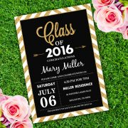 Graduation Invitation Black and Gold Template