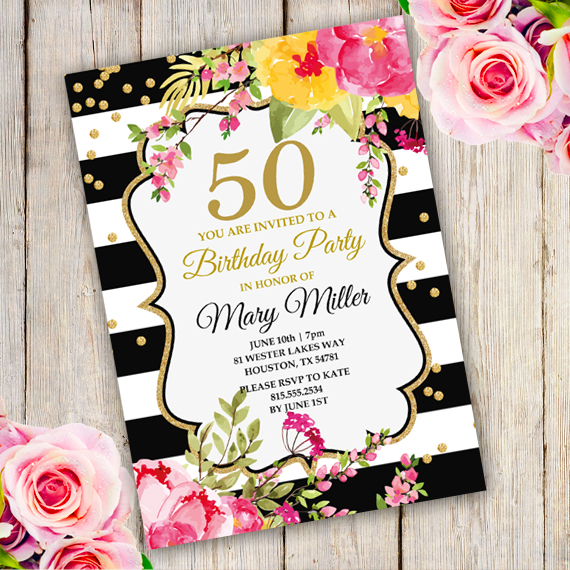 Anniversary birthday party invitation template edit with adobe anniversary stopboris Image collections