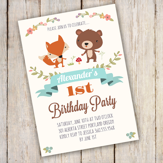 WOODLAND Birthday Party Invitation Template