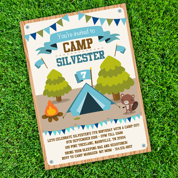 Camping Tent Party Invitation Template Edit With Adobe Reader