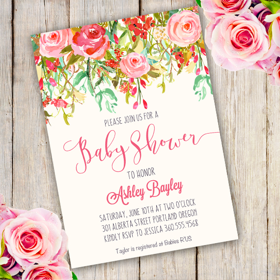 Whimsical Baby Shower Invitation Template Edit With Adobe - Print at home baby shower invitation templates