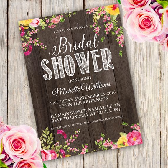 611418253a5 Rustic Bridal Shower Invitation Template – Edit with Adobe Reader. Simply  ...