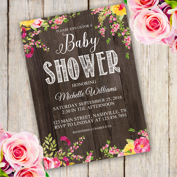 Rustic Baby Shower Invitation Template Edit With Adobe Readerparty