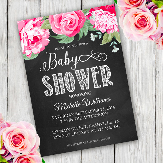 Chalkboard Baby Shower Invitation Template U2013 Edit With Adobe Reader.  Chalkboard Flower Shower Invitation Template; Howtoeditmypdf