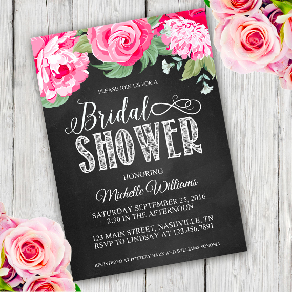 chalkboard bridal shower invitation template edit with adobe reader chalkboard