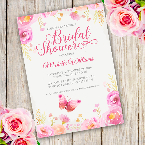 floral bridal shower invitation template edit with adobe reader floral