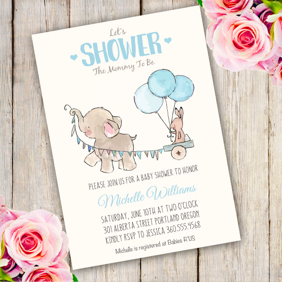 photograph regarding Printable Elephant Baby Shower named Elephant Kid Shower Invitation template Edit with Adobe reader