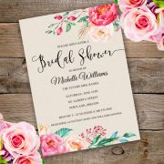 Floral Bridal Shower Invitation Template with watercolor Flowers