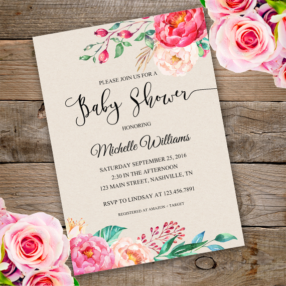 floral baby shower invitation template  edit with adobe, Baby shower