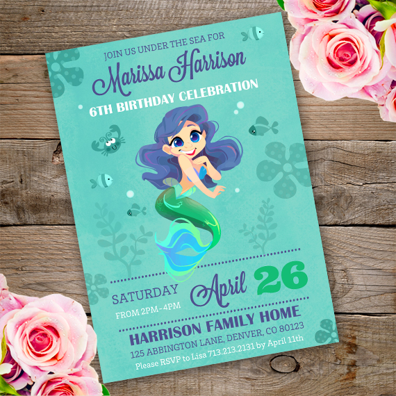 Mermaid Birthday Party Invitation Template Edit With Adobe Reader
