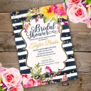 Watercolor Bridal shower invitation Template