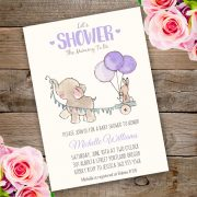 purple Elephant baby shower invitation template