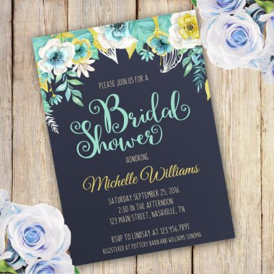 Blue Flower Bridal shower invitation template edit with adobe reader