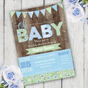 Oh Baby shower invitation Template