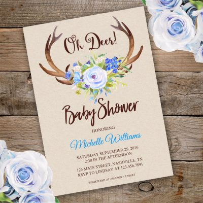 PDF Reader Oh Deer Baby shower invitation Template