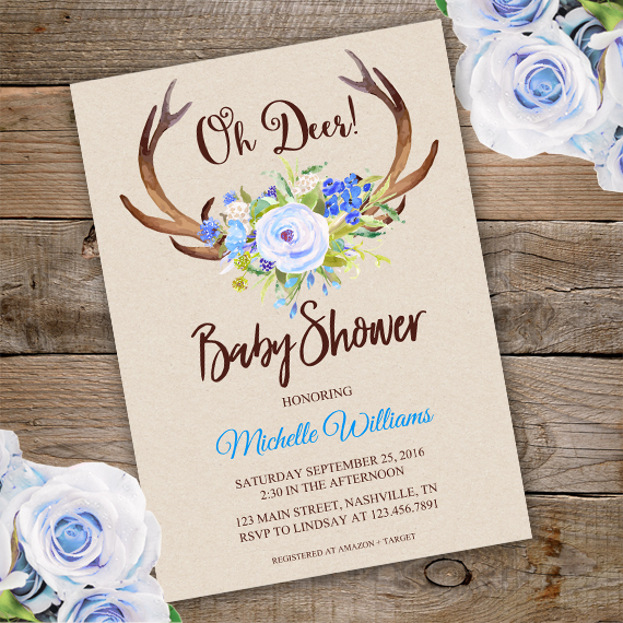 Floral Bridal Shower Invitation Template Edit With Adobe - Print at home baby shower invitation templates