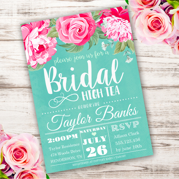 Bridal High Tea Invitation Template Edit With Adobe Reader