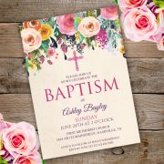 Floral Baptism Invitation Template edit with adobe reader
