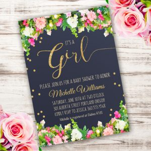 it's a girl baby shower Invitation Template