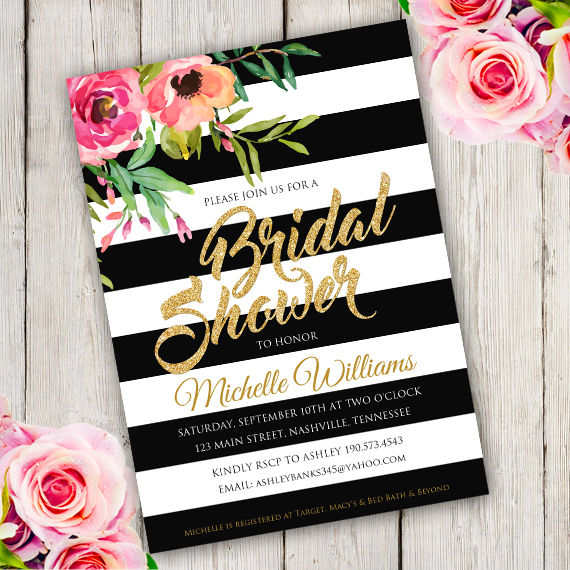 Black White Bridal Shower Invitation Template Edit With Adobe - Black and white bridal shower invitation templates