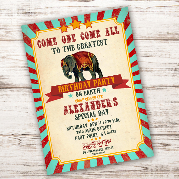 Circus Party Invitation | Circus Birthday Party Invitationparty Printables