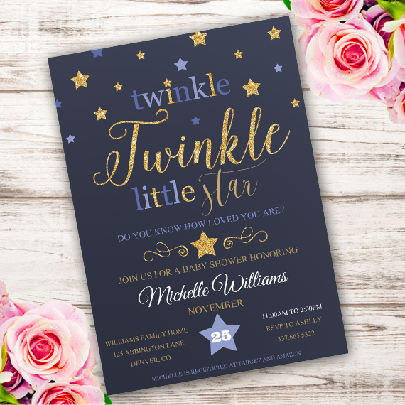 graphic about Free Printable Twinkle Twinkle Little Star Baby Shower Invitations identify Twinkle Kid Shower Invitation Template Edit with Adobe Reader