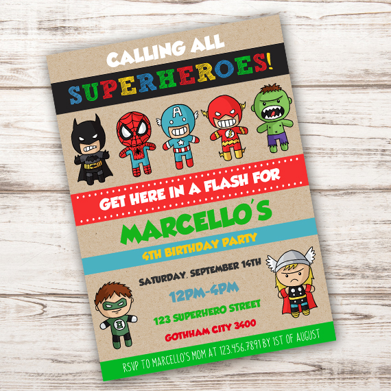 superhero birthday party invitation template edit with adobe