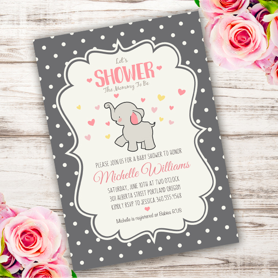 photograph regarding Printable Elephant Baby Shower identify Elephant Child Shower Invitation Template Edit with Adobe Reader