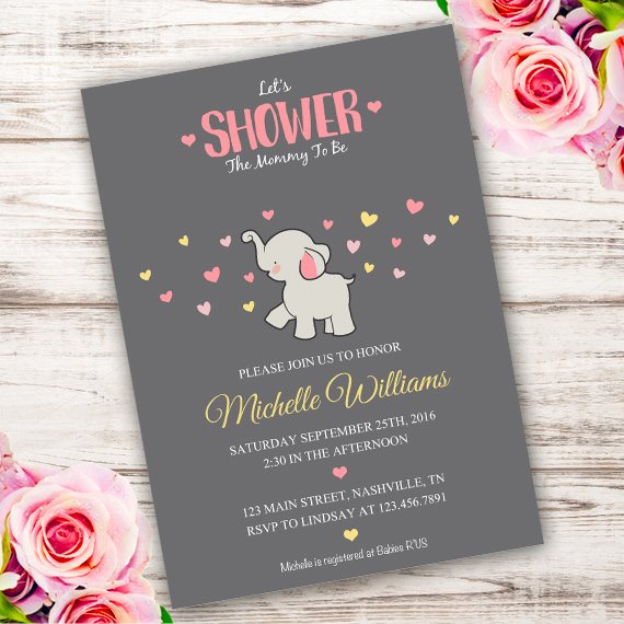 invitations elephant shower