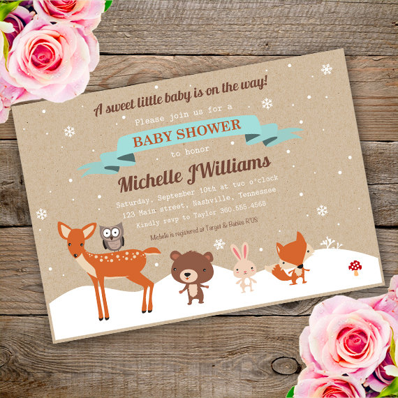 Winter WOODLAND baby shower Invitation Template edit with Adobe