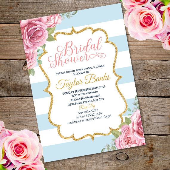 floral bridal shower invitation template edit with adobe