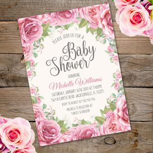 invite baby shower floral
