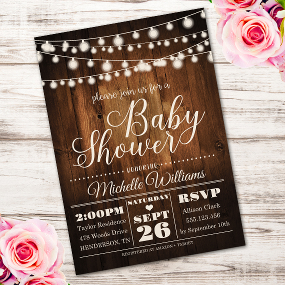 wood fairy light invitation