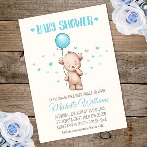 Baby shower invitations for boys archives party printablesparty teddy bear baby shower invitation template edit with adobe reader filmwisefo Choice Image