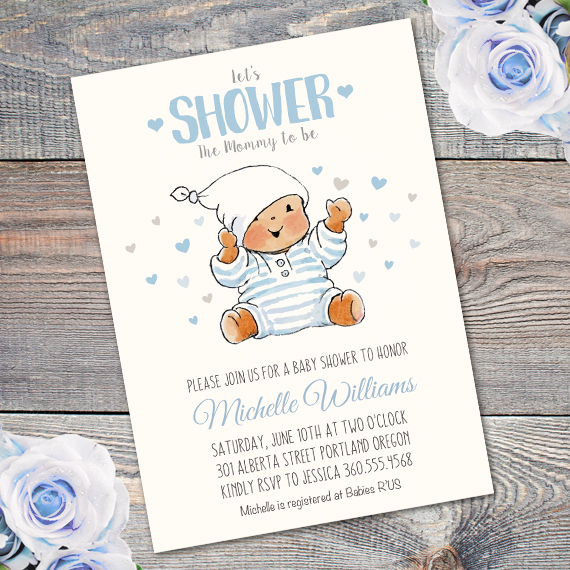 Teddy bear Baby Shower Invitation Printable Edit with Adobe