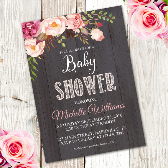 Wooden Rustic Baby Shower Invitation Template Edit With Adobe