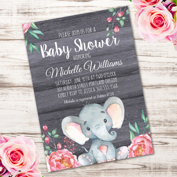 Elephant Baby Shower Invitation Printable Edit With Adobe