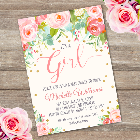 gold confetti girl baby shower invitation templateparty. Black Bedroom Furniture Sets. Home Design Ideas