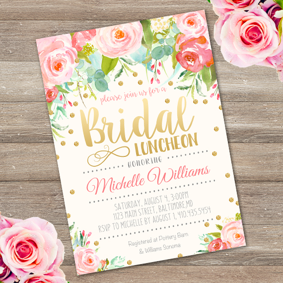 Bridal Luncheon Invitation Template Edit With Adobe ReaderParty - Bridesmaid luncheon invitations template