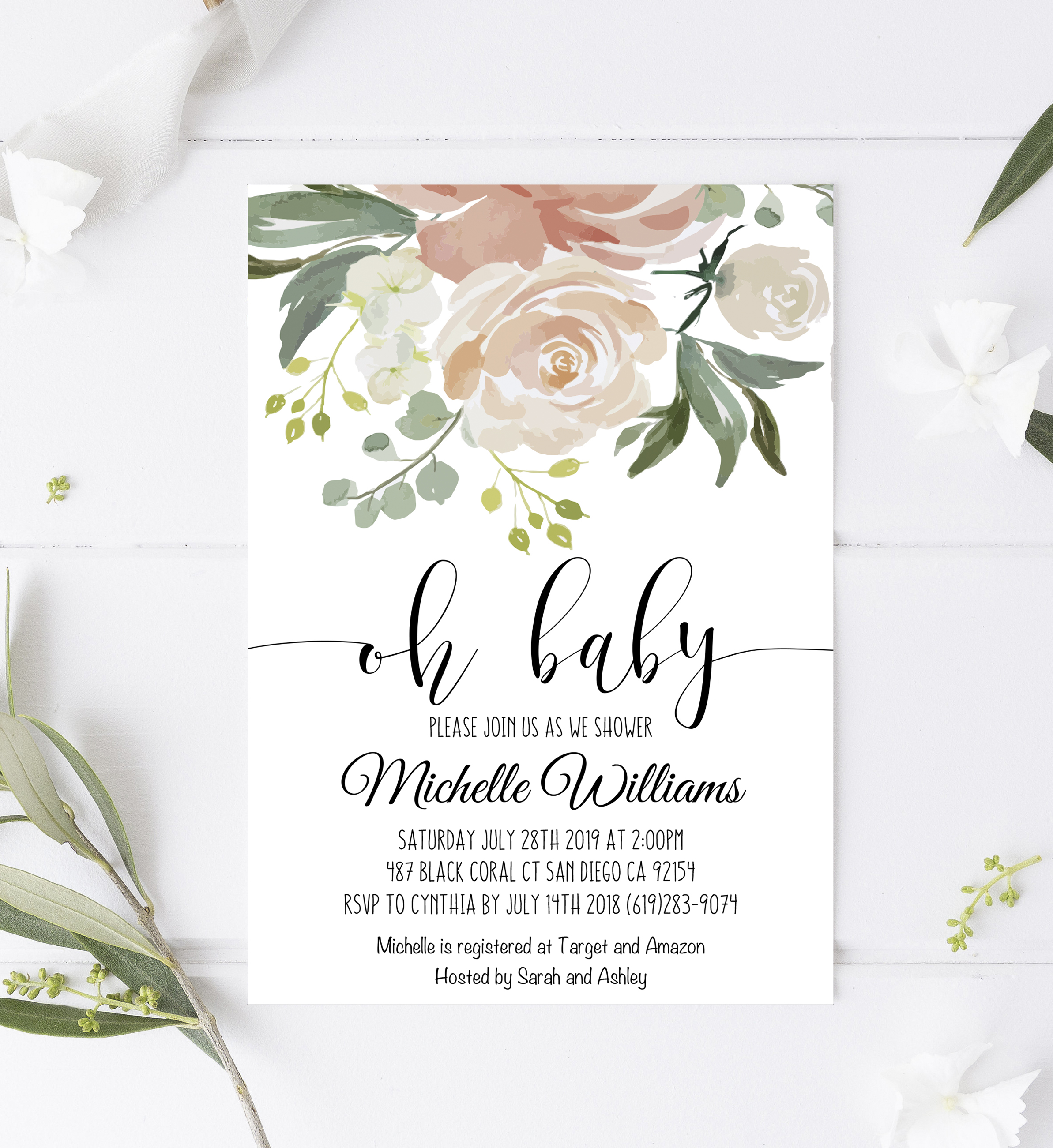 Greenery Baby Shower Invitation Template Edit With Adobe Reader
